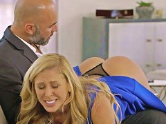 Irresistible blonde mommy Cherie Deville gets her anus drilled hard